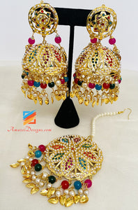 Traditional Golden Multicoloured Jadau Oversized Jhumka And Tikka Set