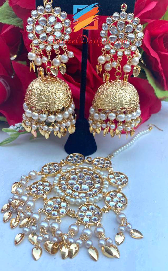Traditional Lightweight Pipal Patti Jhumka with Oversized Tikka