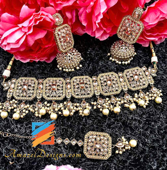 Very High Quality Champagne Choker with Jhumki and Tikka Set