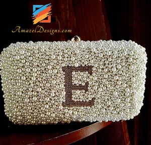 Cute WHITE PEARLS CLUTCH