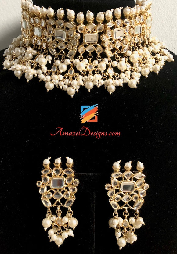 White Kundan and Pearl Earrings Necklace Choker Set