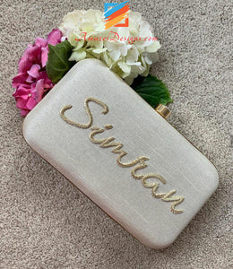 White Clutch With Golden Name
