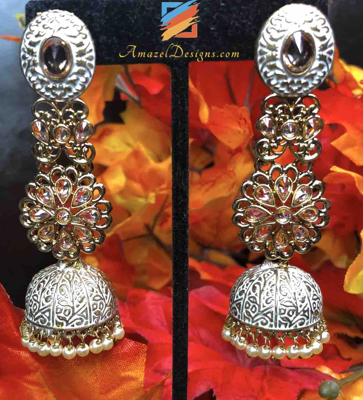 White Greyish Painted Polki Jhumki Earrings