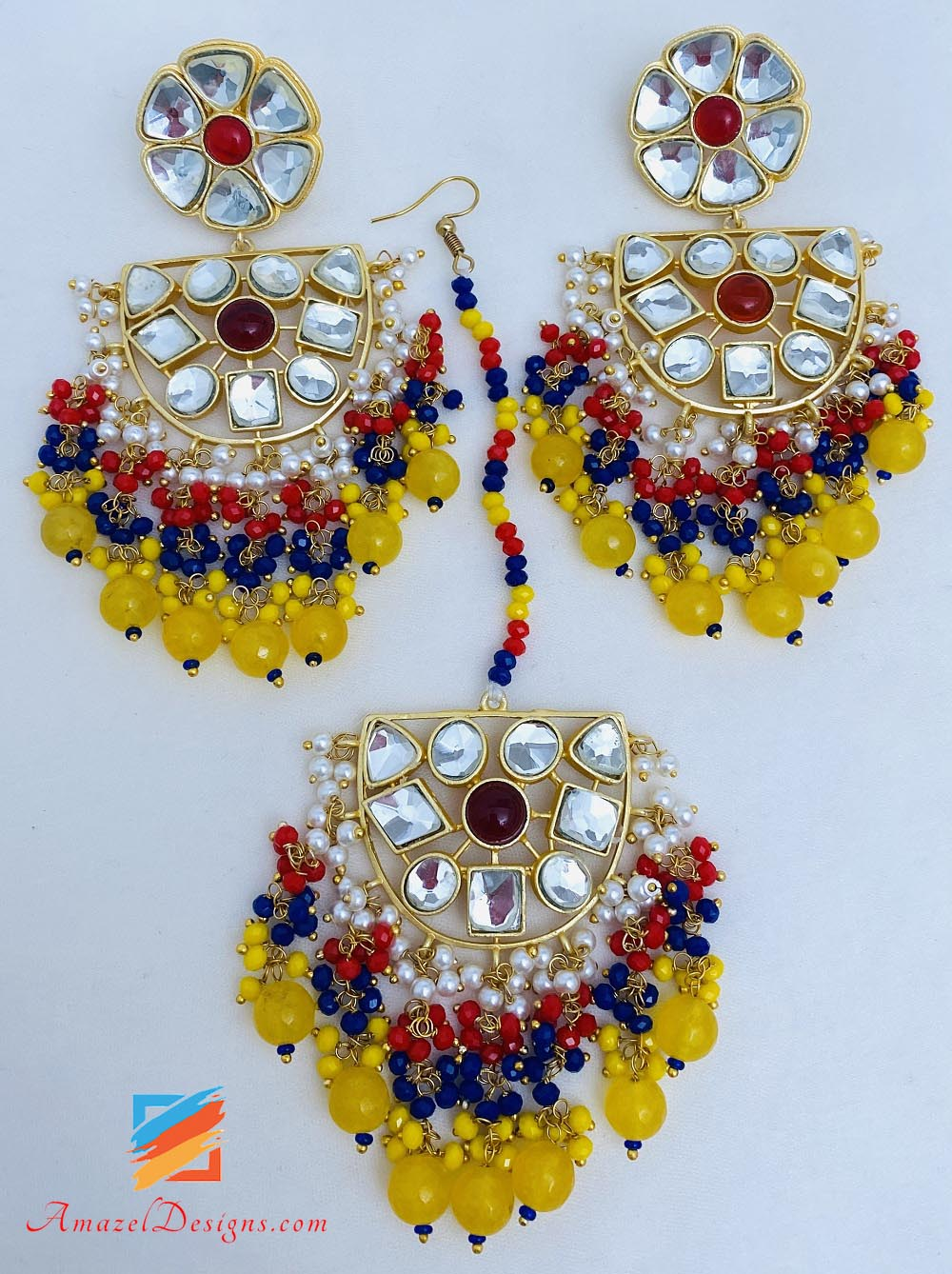 Yellow Kundan Lightweight Earrings Tikka Set