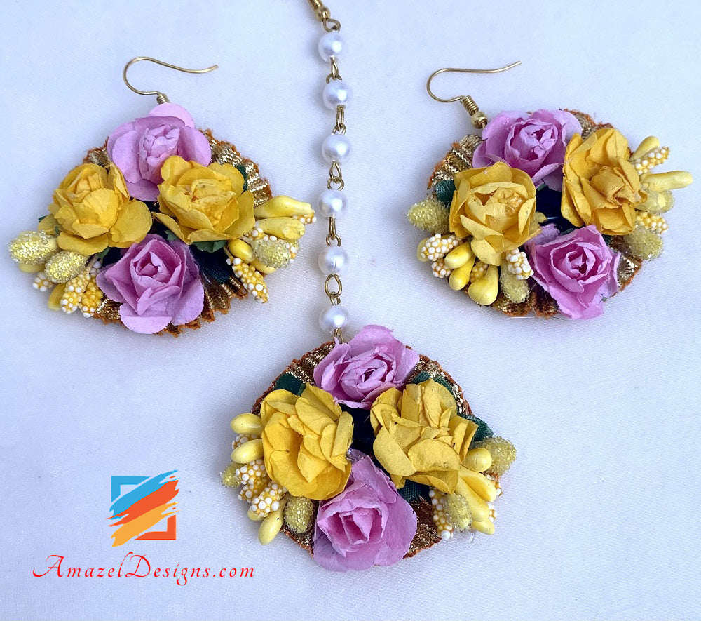 Yellow Pink Long And Choker Double Necklaces Flower Jewellery