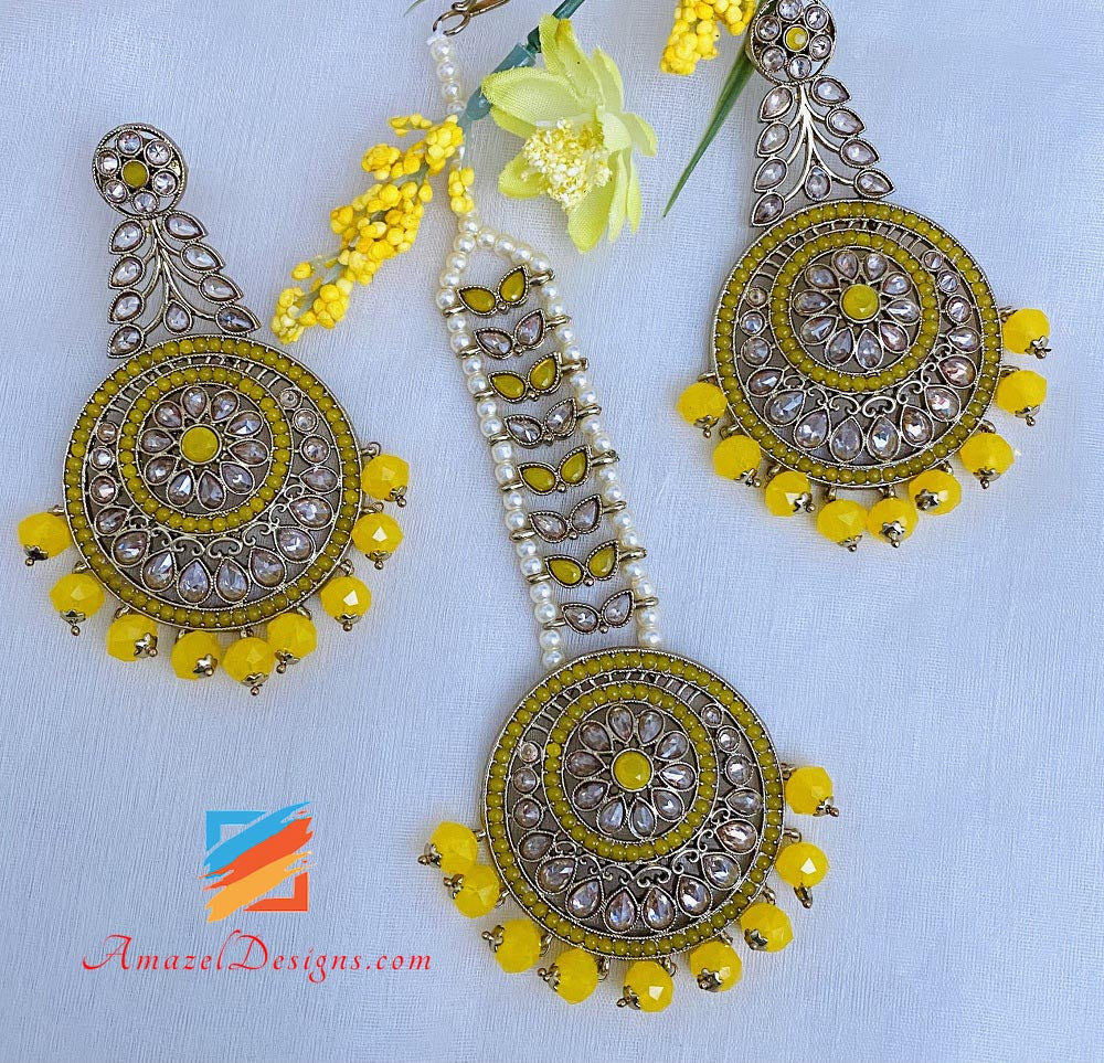 Yellow Polki Earrings Tikka Set
