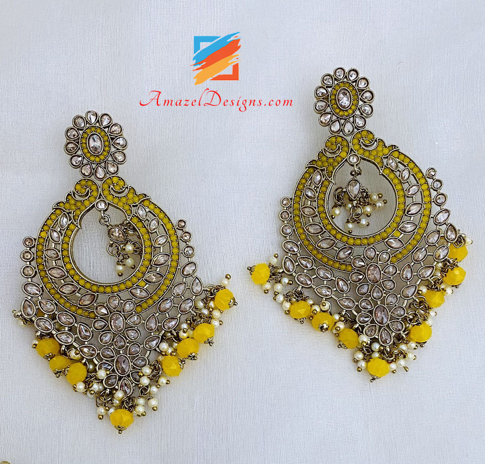 Yellow Polki Oversized Earrings And Tikka Set