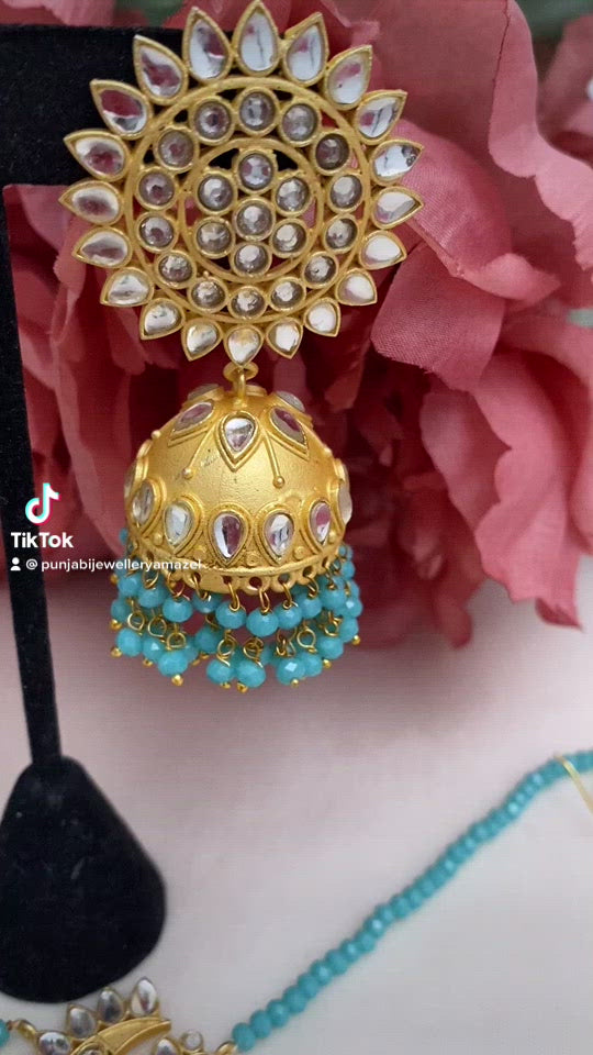 Feerozi Kundan Jhumki Earrings Tikka Set