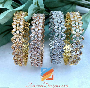 American Diamond AD Kadas Choora with Golden and Silver options