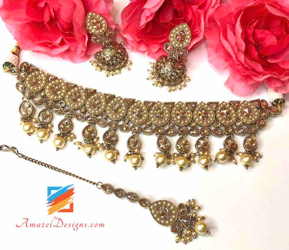 Champagne Color Jadau Choker Set