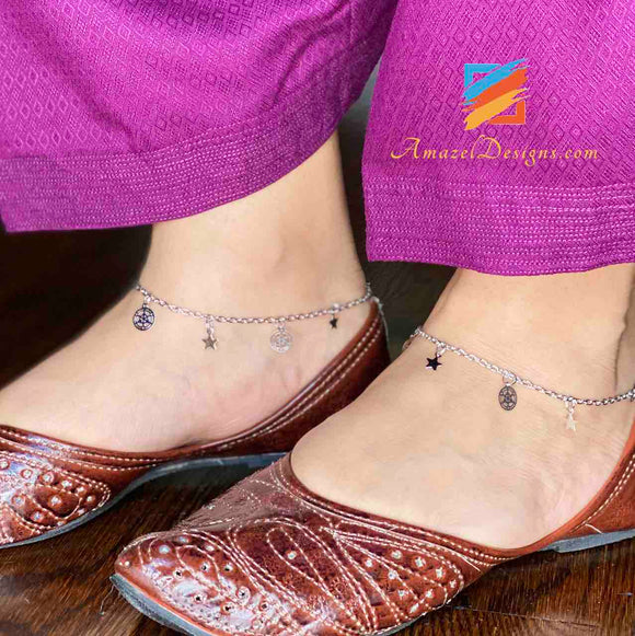 Silver Single Line Payal Anklet