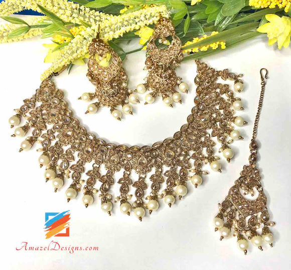 Polki Champagne Color Necklace Set
