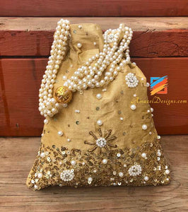 Beige Potli with Beads and Sitara Work