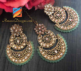 Chandbali Lightweight with Light Seagreen beads Earrings Tikka Set