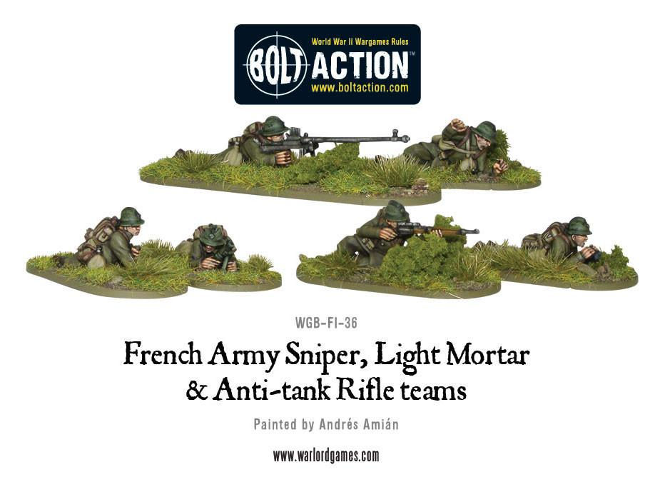 French Army Sniper, Light Mortar and Anti-tank Rifle teams