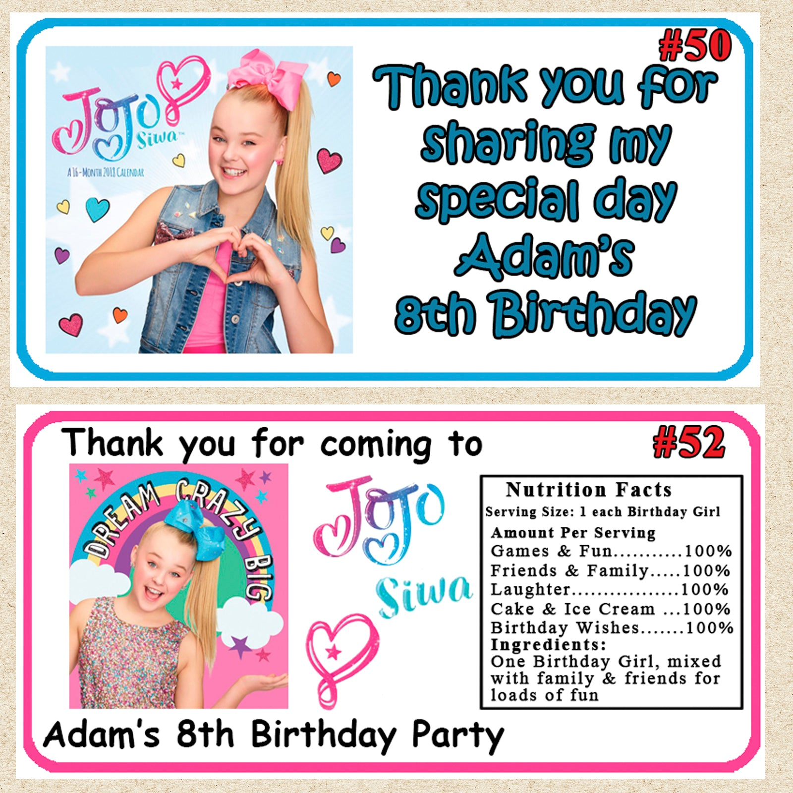 20 JoJo Siwa Party Favor Water Bottle Labels Wrappers