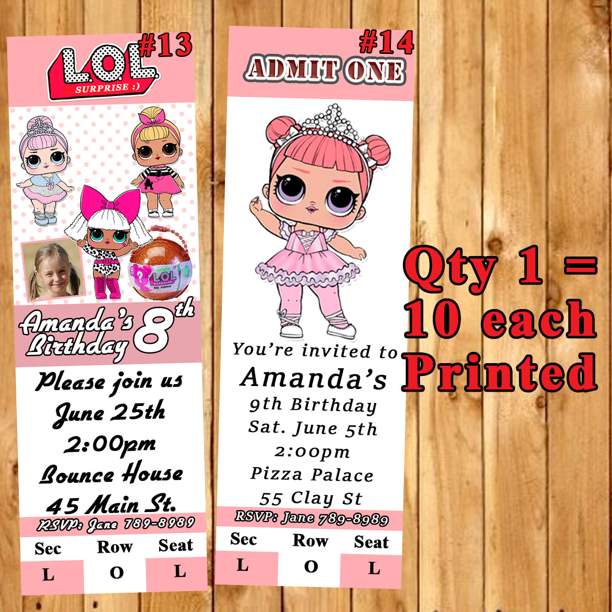 Lol Surprise Doll Birthday Invitations 10 Each Printed Personalized Wi Virginia Design Shop