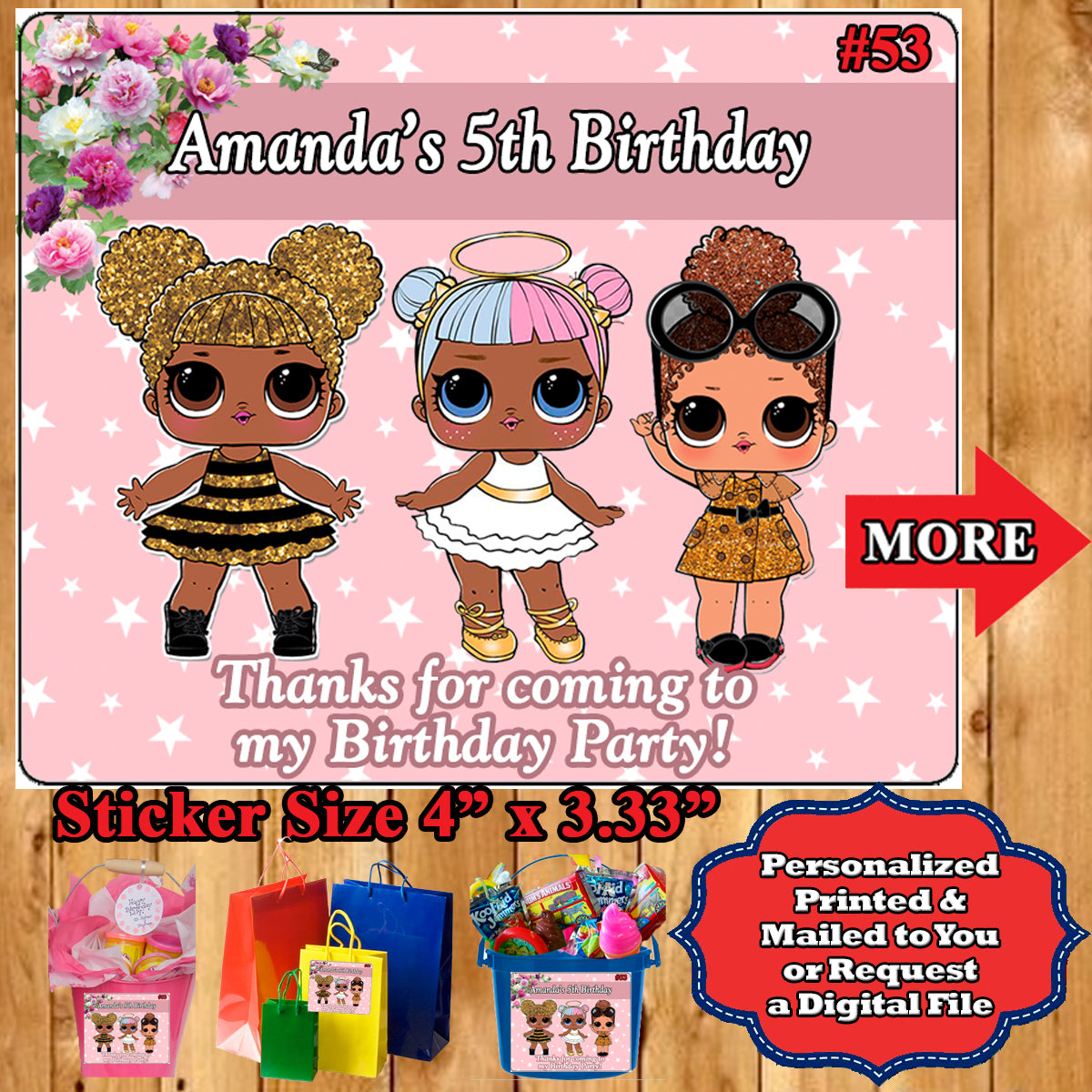 Lol Surprise Doll Printed Birthday Stickers Water Bottle Address
