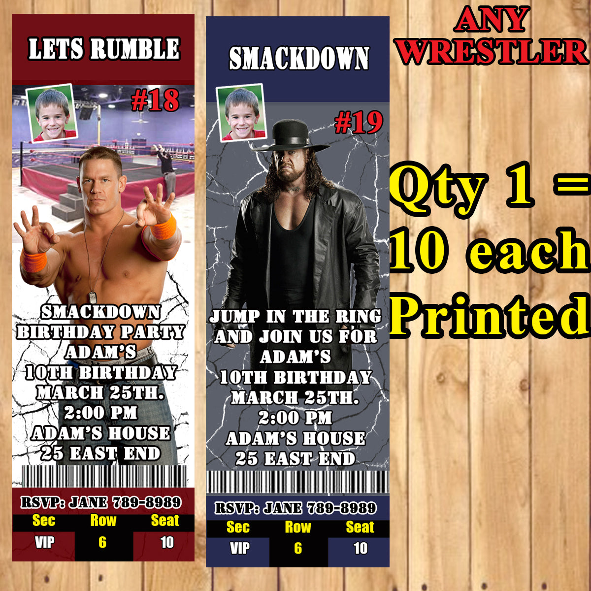 10 x Personalised WWE Wrestling Birthday Party Invites with Envelopes 13