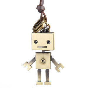 Long Leather Robot Necklace Pendant