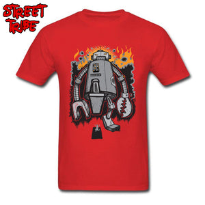 Men Top T Shirt Gift Tees Attack Of The Giant Crazy Robot Cartoon Designer Short Sleeve Summer T-shirts Cotton O-Neck Tshirt Red