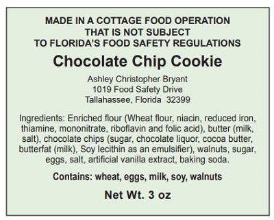 Cottage Food Law labels