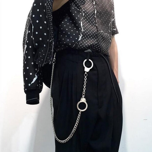 Unisex-Forever Silver Metal Handcuff Pants Chain