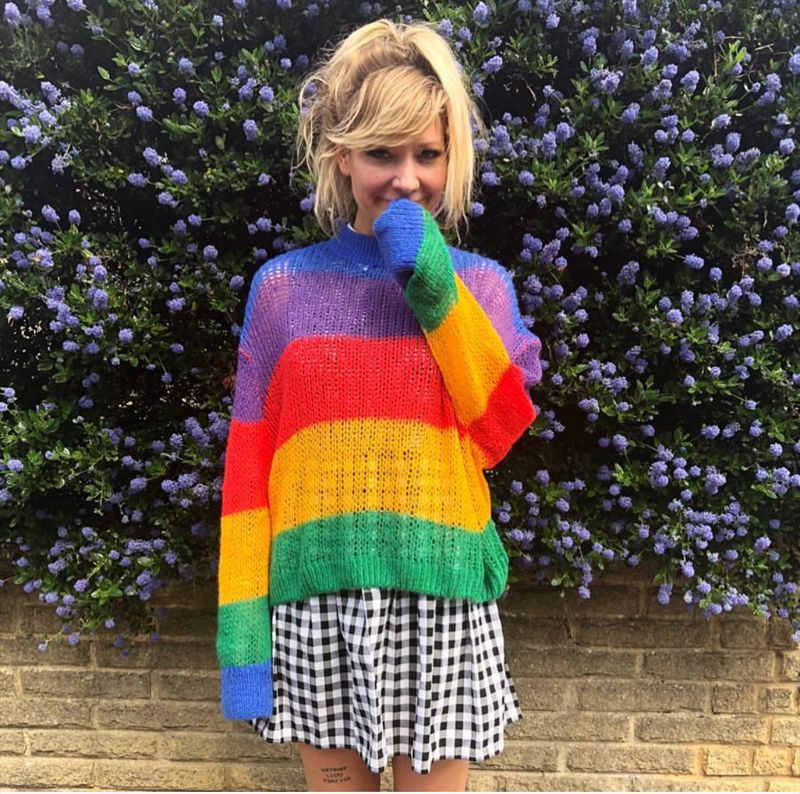Knitted Rainbow See-Through Sweater