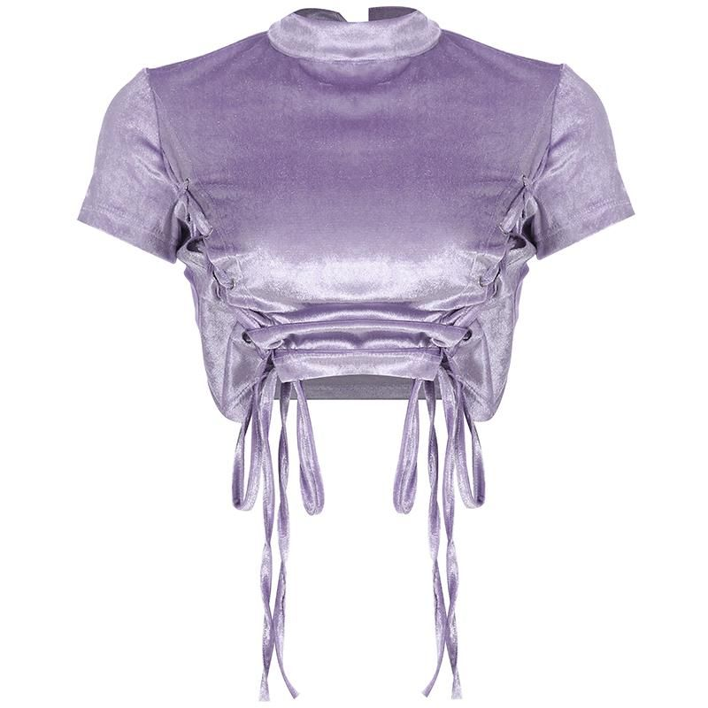 Violet Velvet Lace Up Top