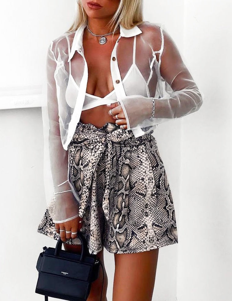 Snake Print High Waisted Shorts