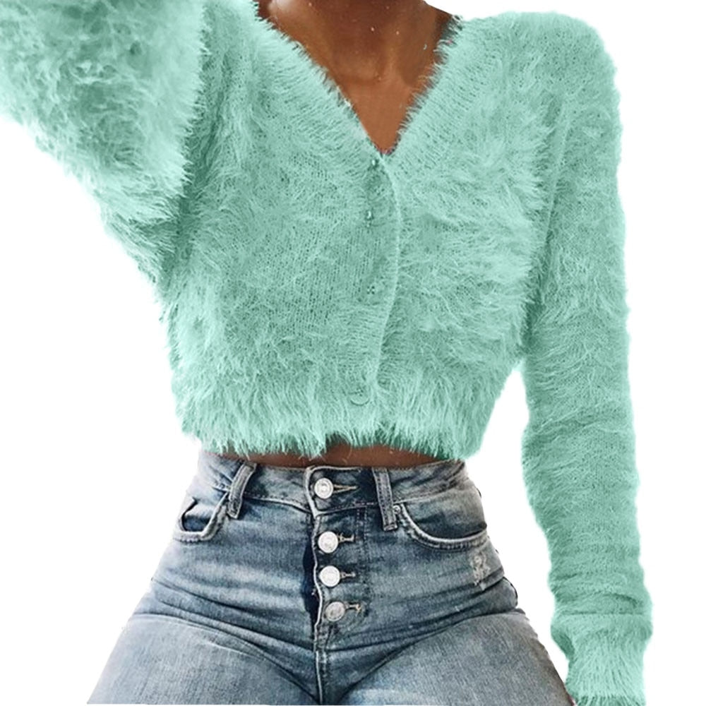 Fluffy Cuddly Unicorn Cropped Sweater