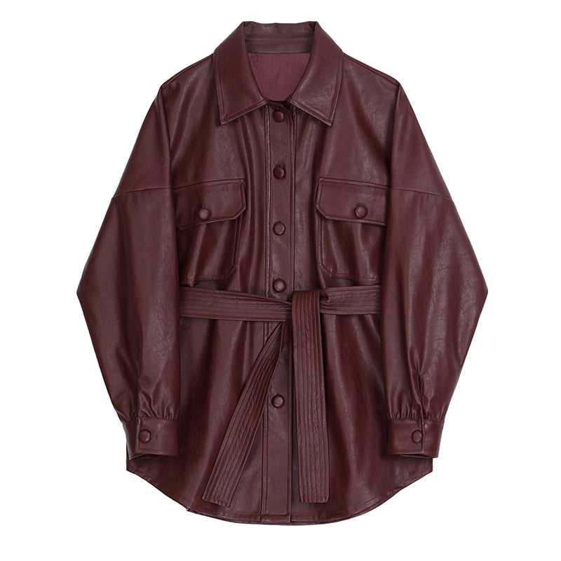 Wine Red PU Leather Shirt