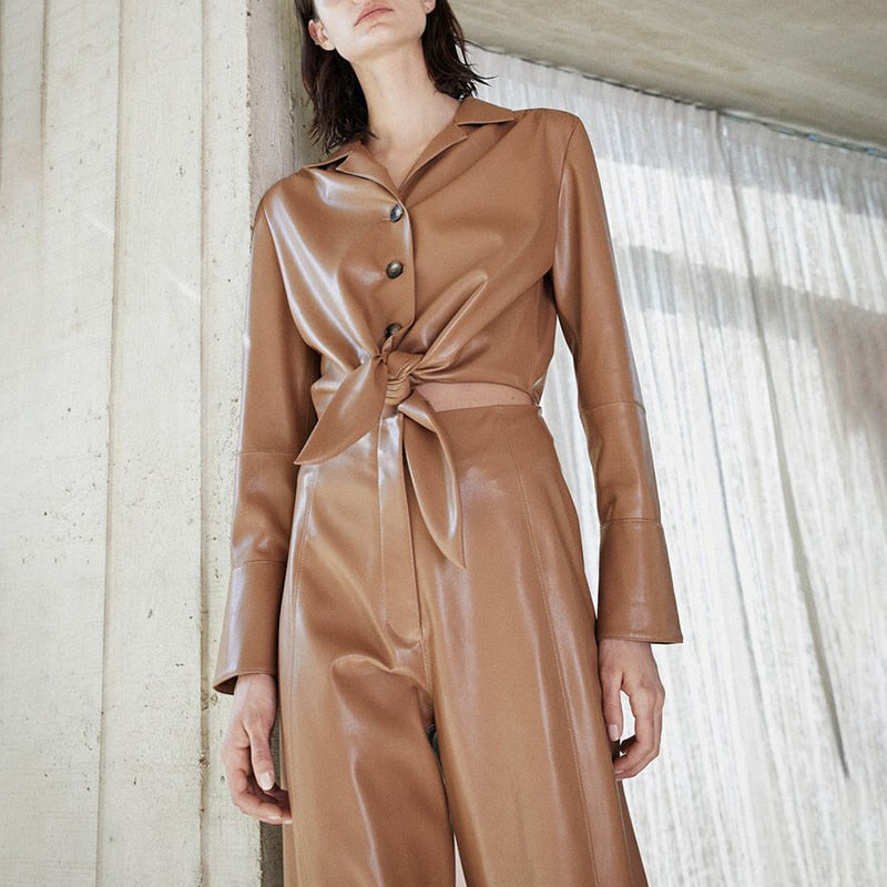 Sleek PU Leather Jumpsuit