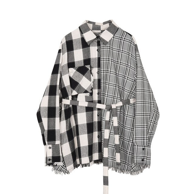 Double Personality Plaid Blouse