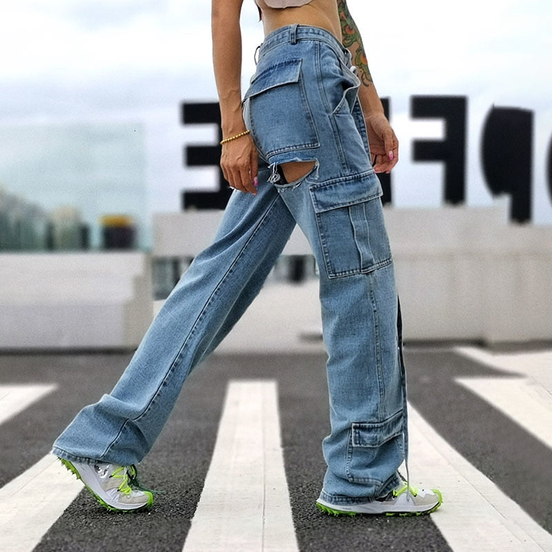 Hollow Cut High Waist Jeans