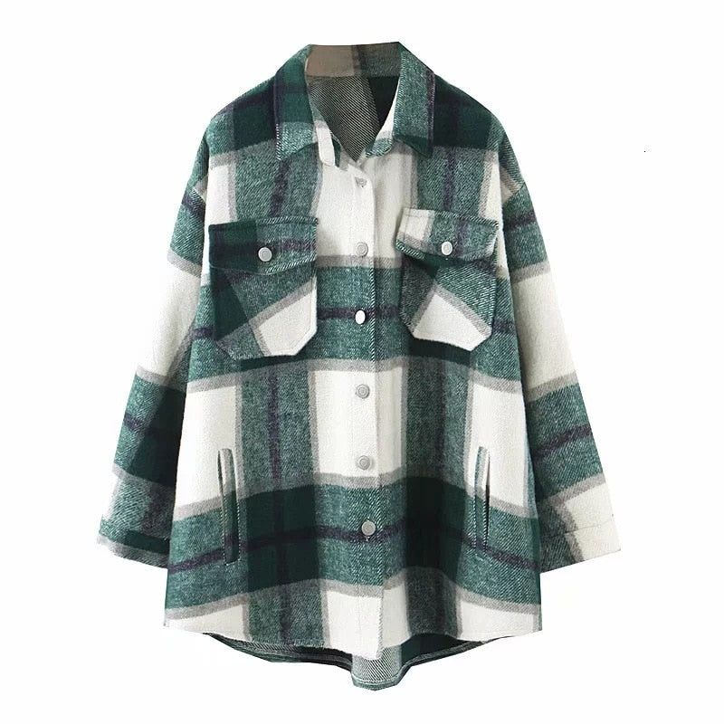 Green Plaid Oversized Shirt