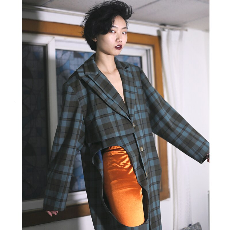 Multiple Lovers Plaid Hollow Out Coat