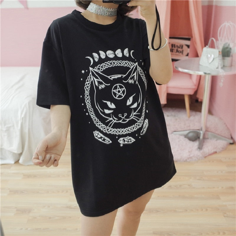 Cat Under The Moon Oversized T-Shirt