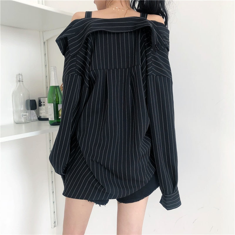 Stripey Asymmetry Long Sleeve Blouse