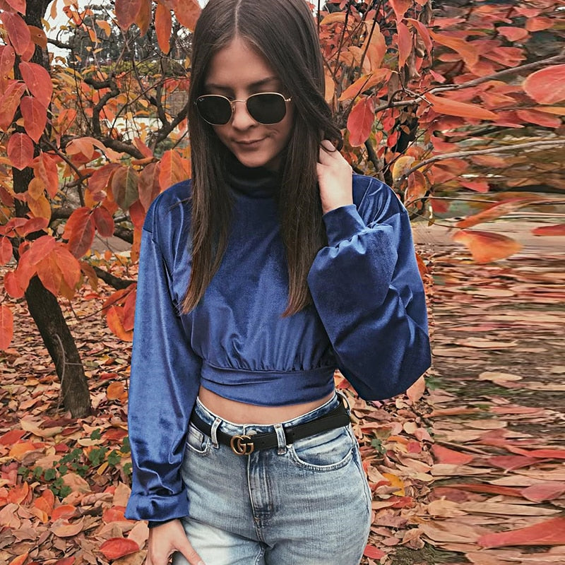 Starry Night Velvet Cropped Sweater