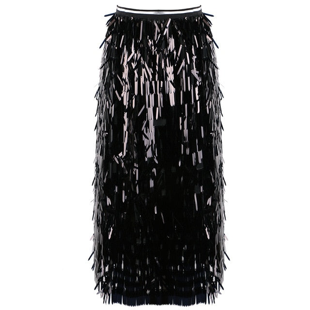 Sequin Tassel High Waist Skirt