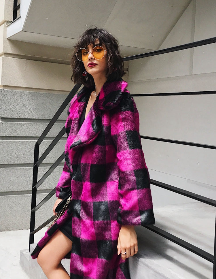 Striped Faux Fur Long Coat