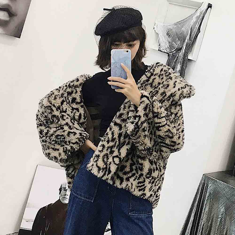 Leopard Shaggy Faux Fur Jacket