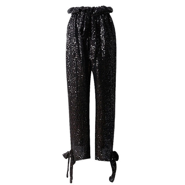 Night On The Town Black Sequin Trousers