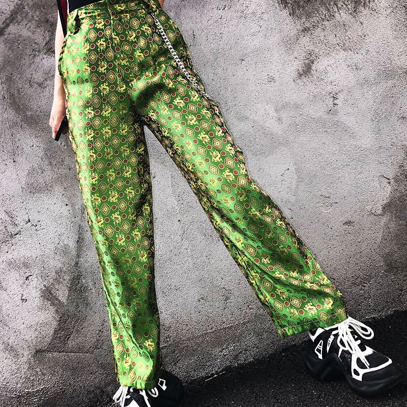 Green Silk Dragon Pants