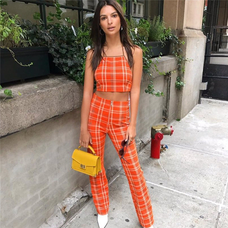 Orange Infatuation Plaid Flare Pants