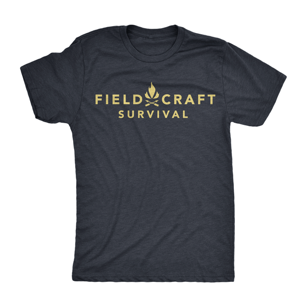 Fieldcraft Survival Logo T-Shirt (navy blue and tan)