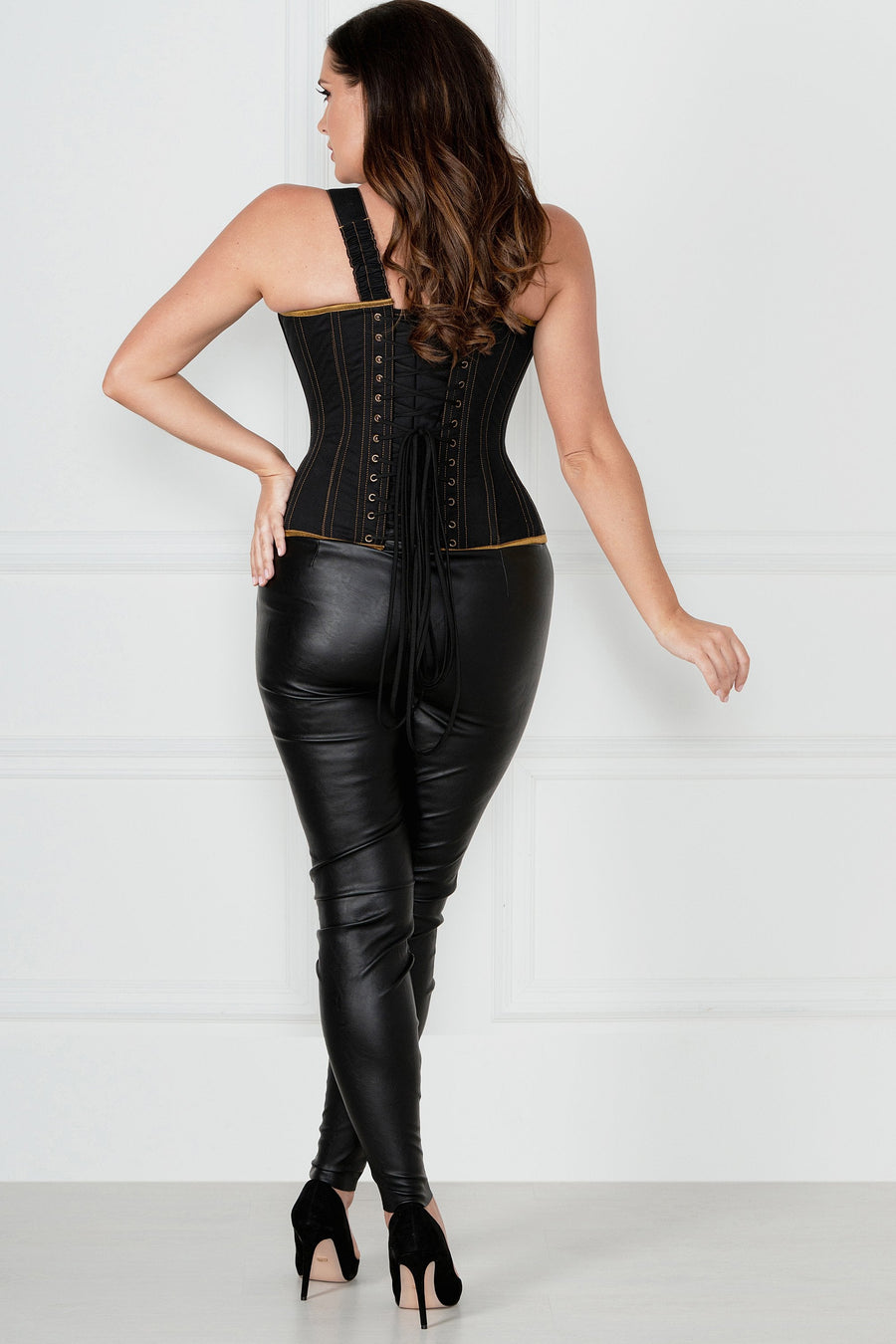 Black Denim Military Inspired Shoulder Strap Corset