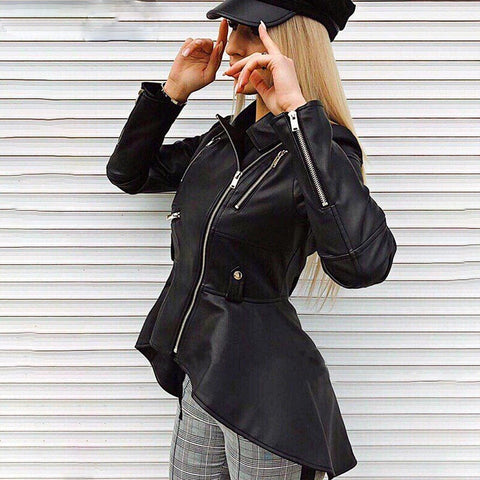 Faux leather PU jackets coats 2018 Autumn winter coats female jackets Women casual zipper streetwear black jackets femme