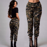 Ladies Women's Camo Cargo Trousers Casual High Waist Pants Military Army Combat Camouflage Pencil Pants